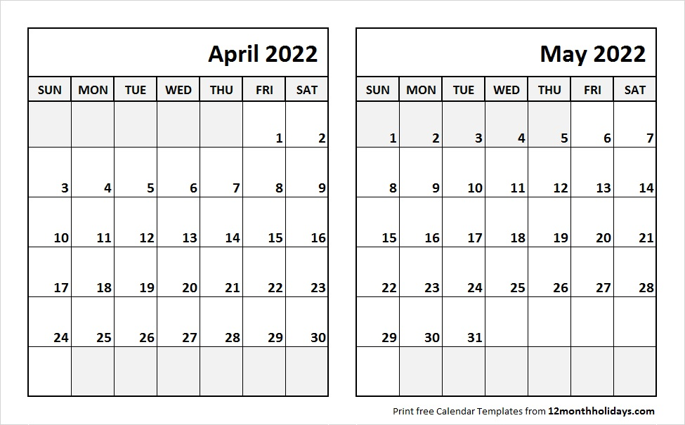 Apr May 2022 Calendar Template