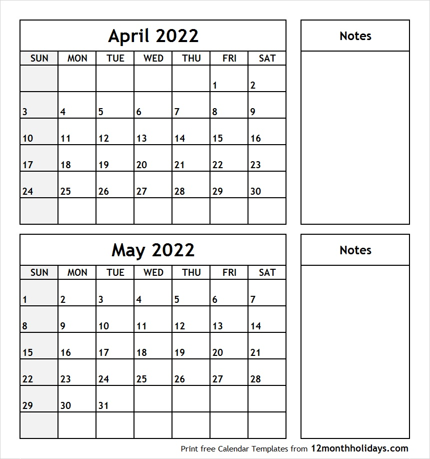 April May 2022 Printable Calendar