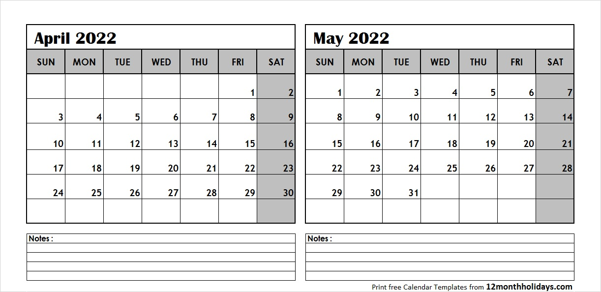 April May Calendar 2022 with Notes