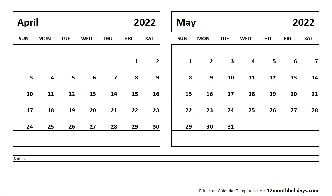 April and May 2022 Calendar
