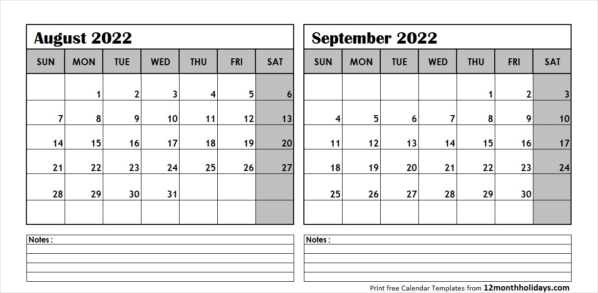 Aug Sep 2022 Calendar Template
