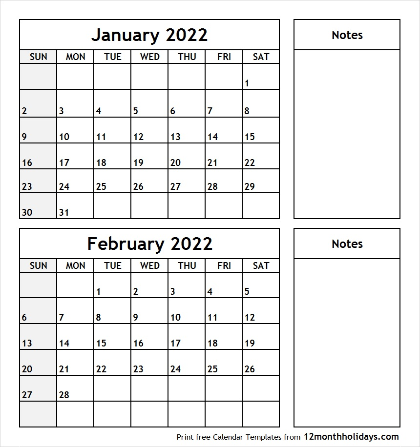 Printable Blank Two Month Calendar January February 2022 Template