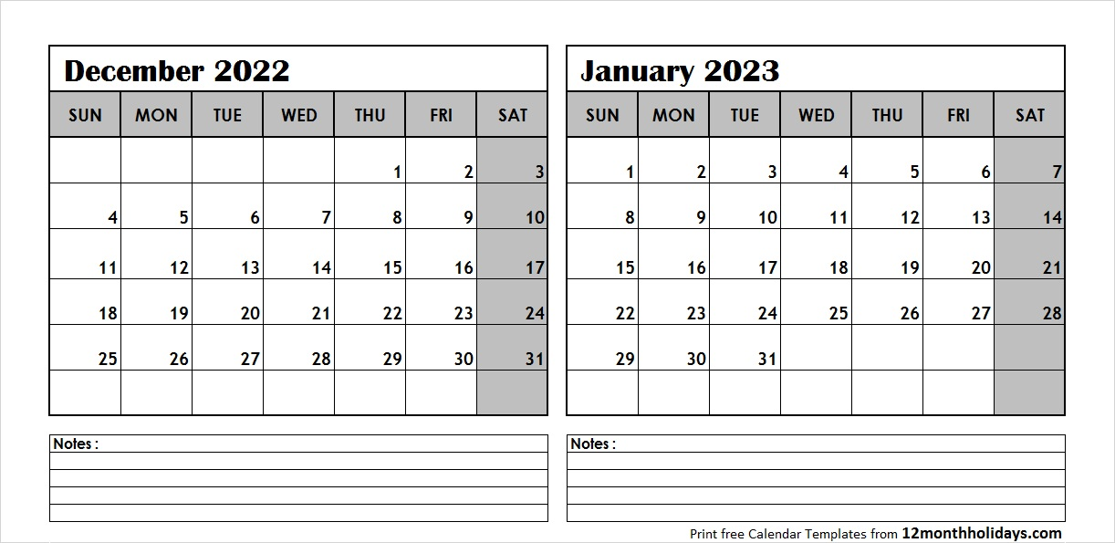 Dec 2022 Jan 2023 Calendar Template