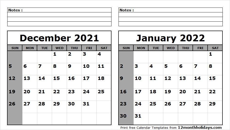 picture regarding 2022 Calendar Printable referred to as Print December 2021 January 2022 Calendar Template 2 Thirty day period