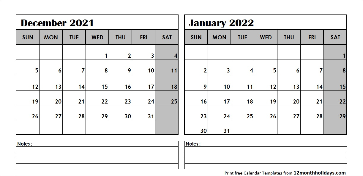 December 2021 January 2022 Calendar with Notes