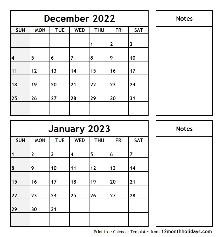 December 2022 January 2023 Calendar with Notes