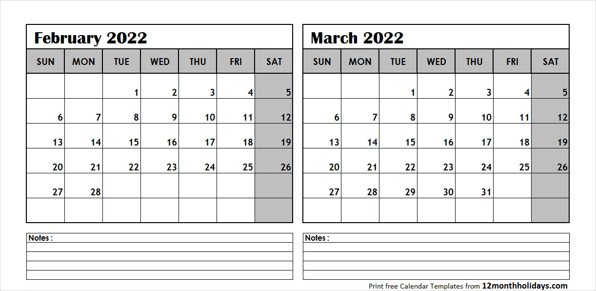 Feb Mar 2022 Calendar Template