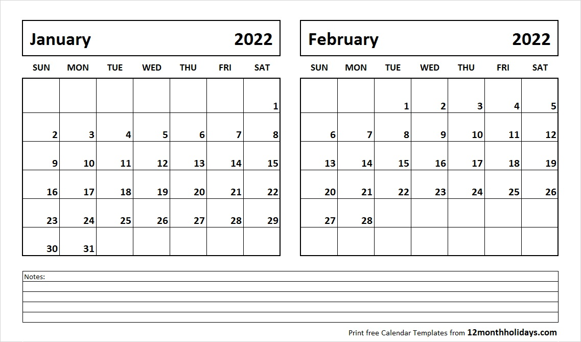 Jan Feb 2022 Calendar Template