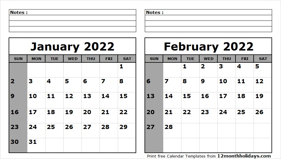 January February Calendar 2022 with Notes