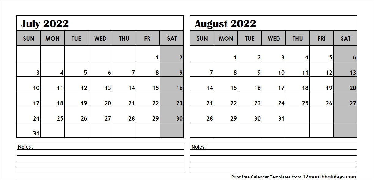 Calendar July August 2022 with Notes