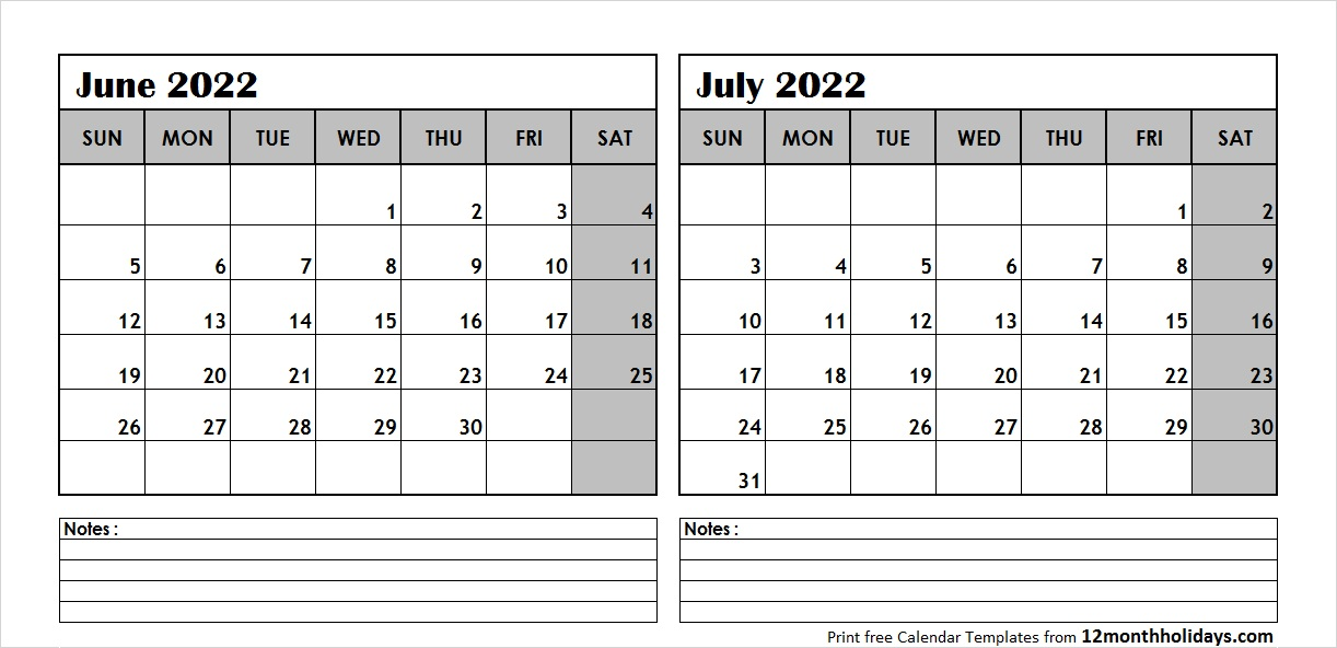 Jun Jul 2022 Calendar Template