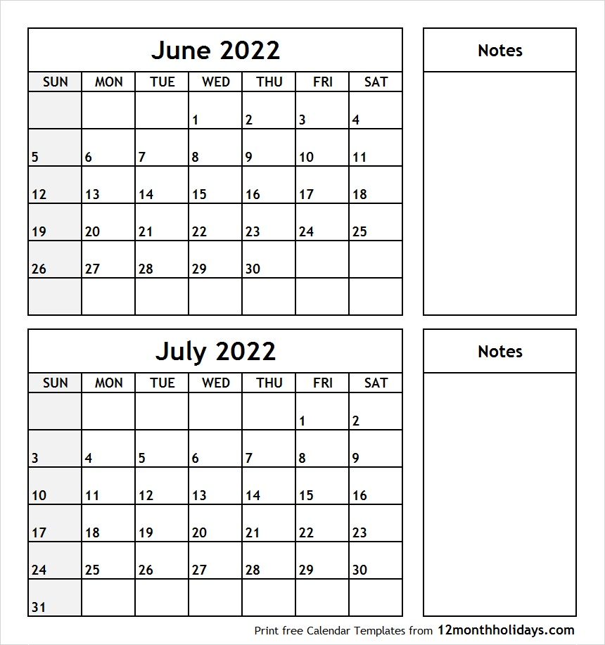 June and July 2022 Calendar