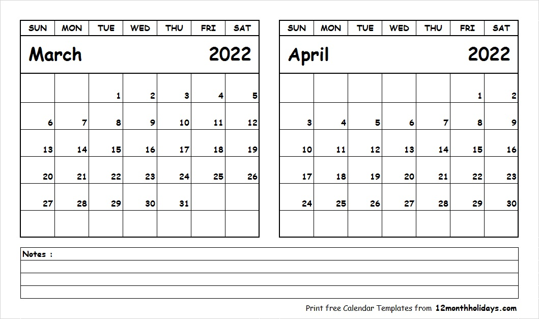 March April 2022 Calendar Printable