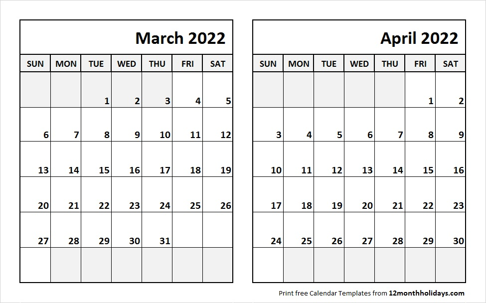 March April 2022 Printable Calendar