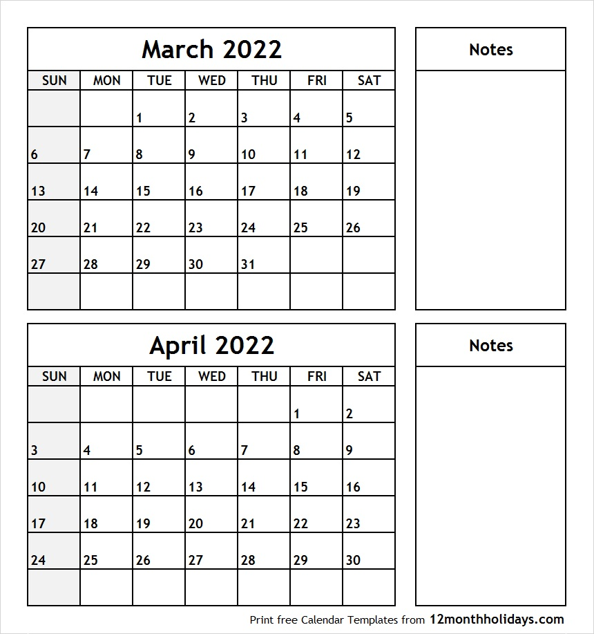 March and April 2022 Calendar