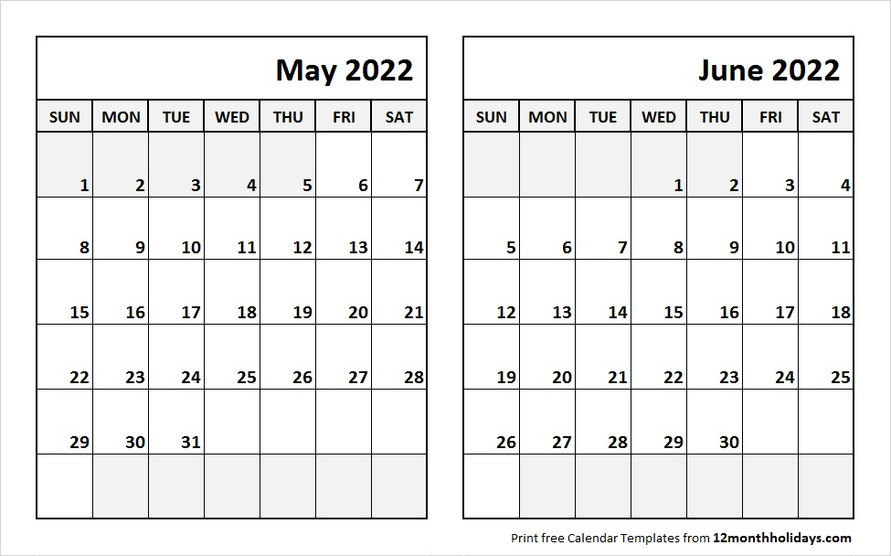 May Jun 2022 Calendar Template