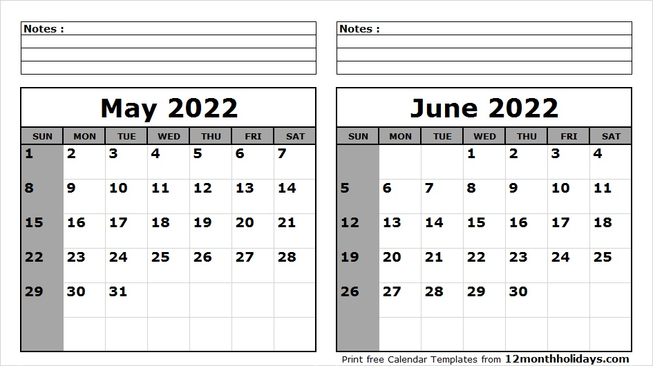 May June 2022 Calendar Printable