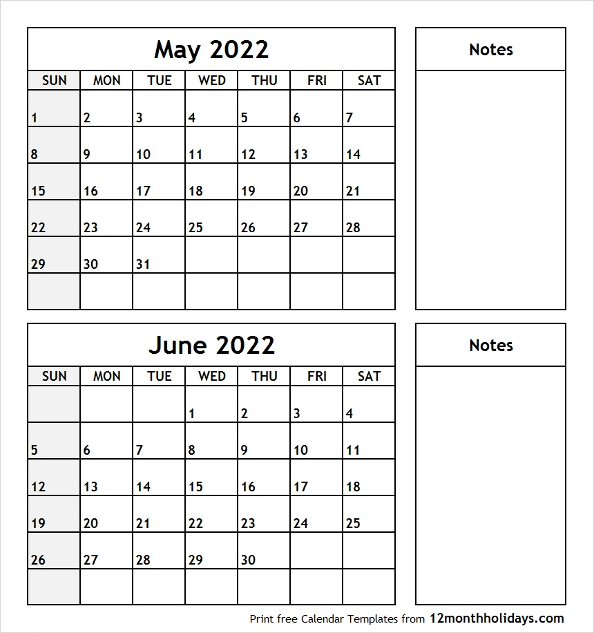 May June 2022 Printable Calendar