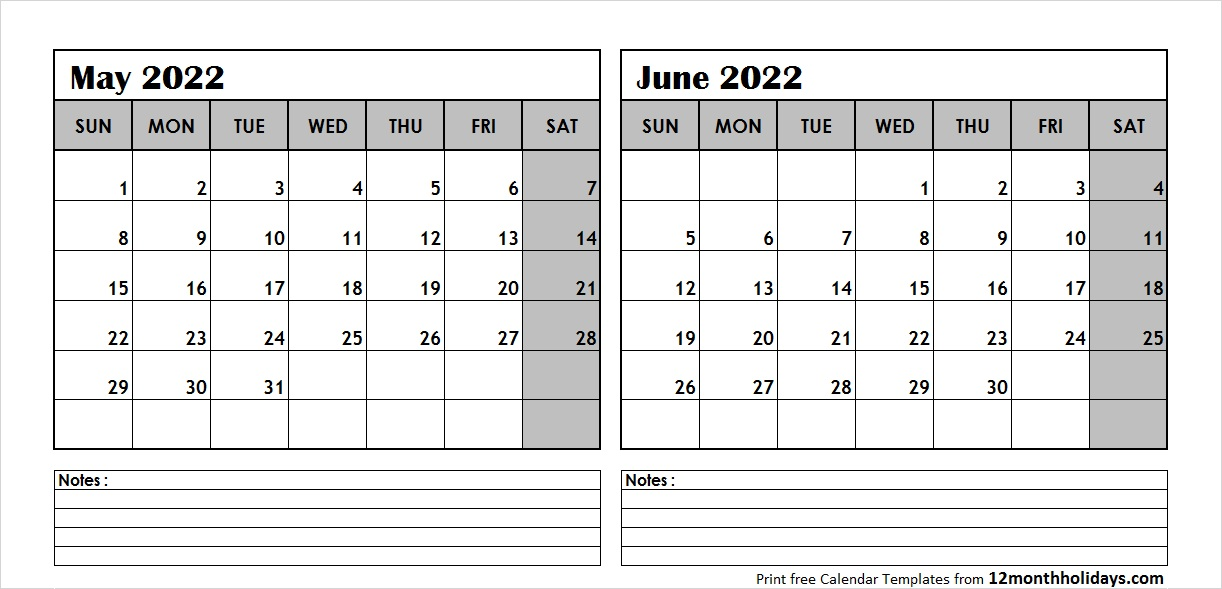 May June Calendar 2022 with Notes