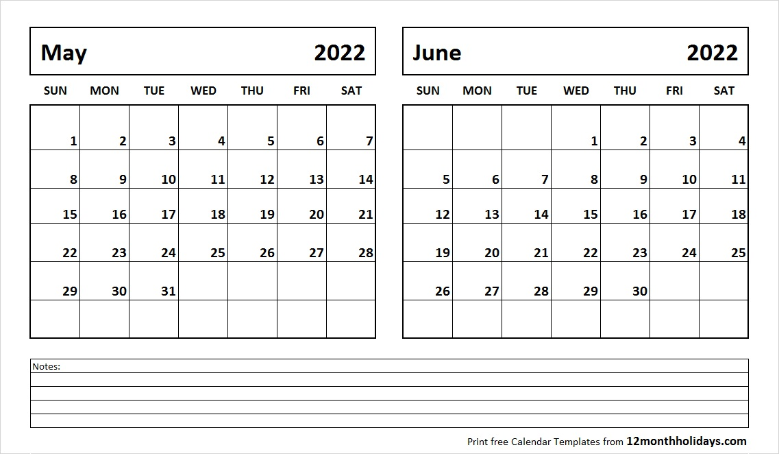 May and June 2022 Calendar