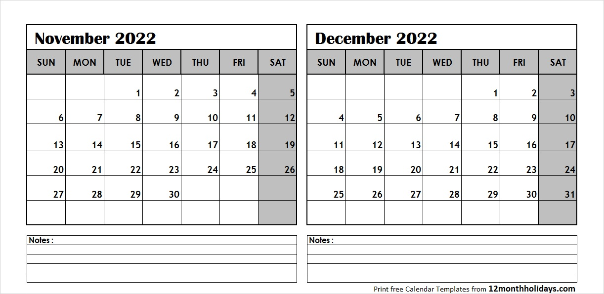 Nov Dec 2022 Calendar Template