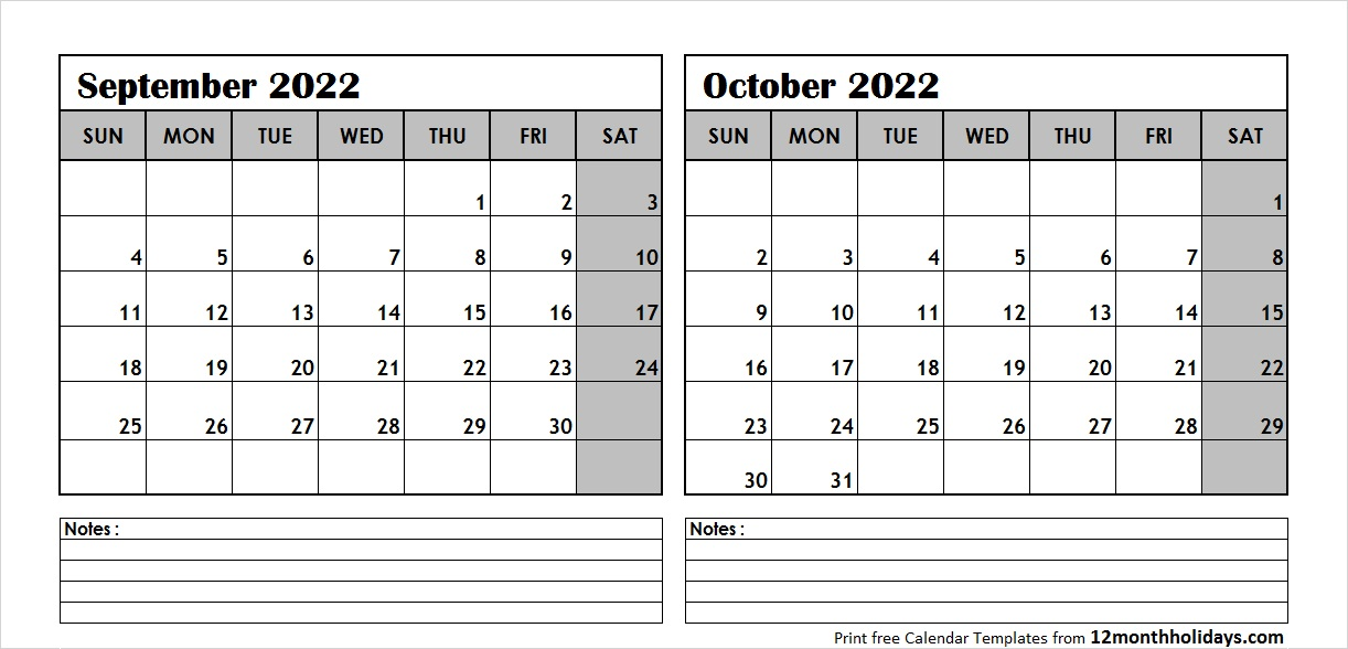 Sep Oct 2022 Calendar Template