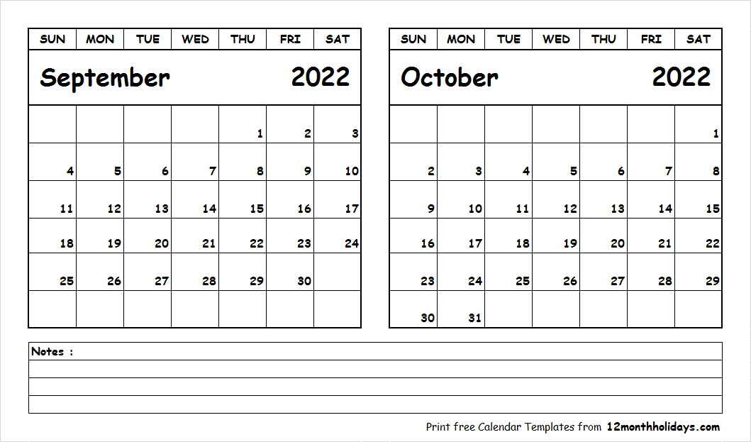 September October 2022 Calendar Printable