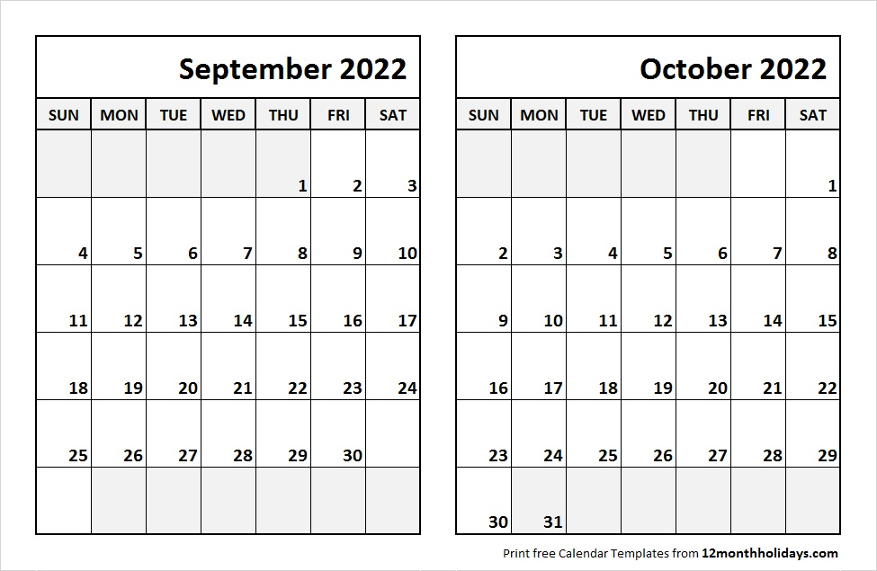September October 2022 Printable Calendar
