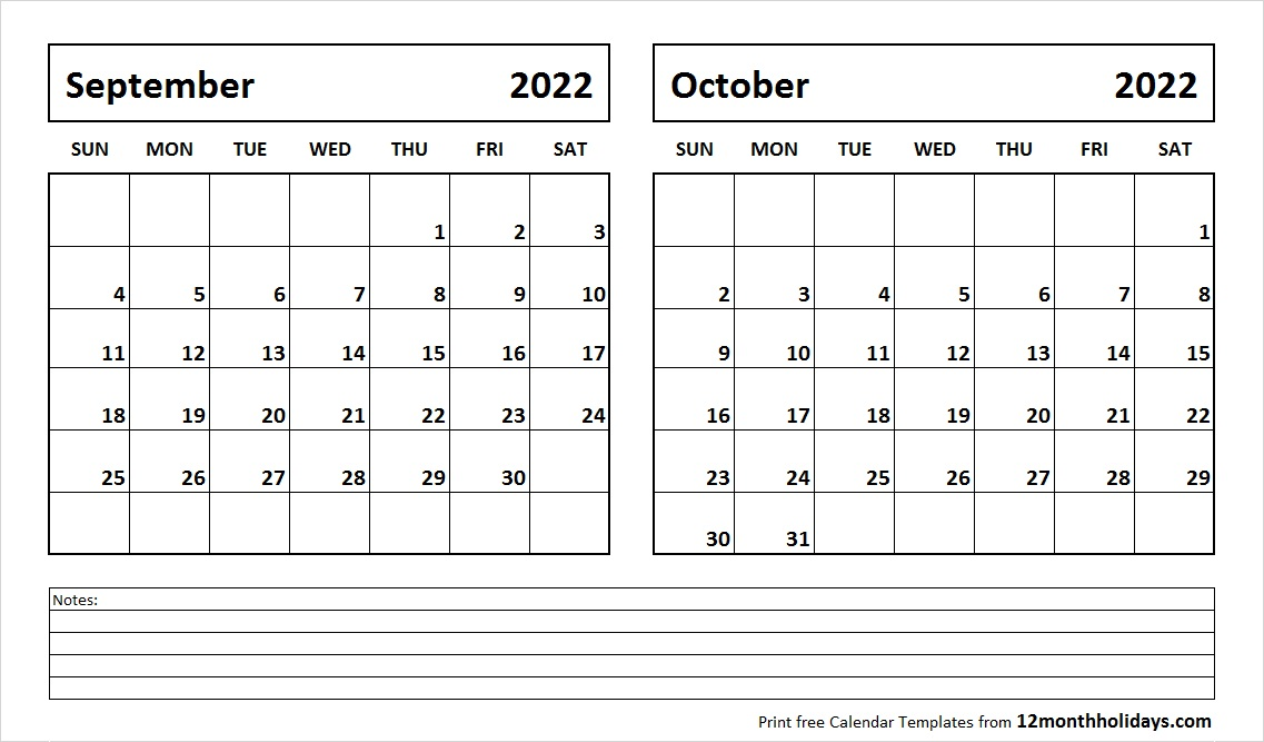 Calendar September October 2022 with Notes