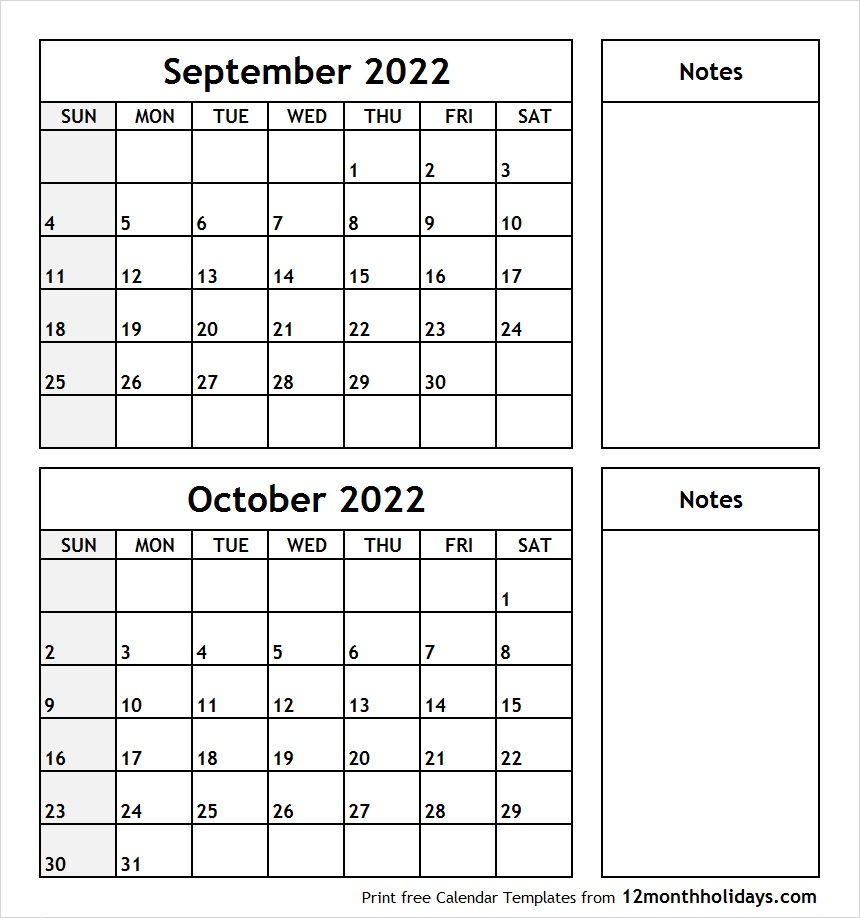 September October 2020 Printable Calendar