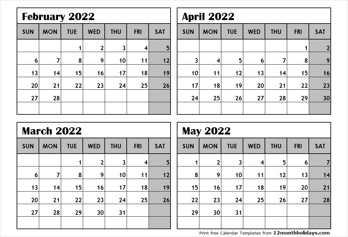 4 Month Calendar February to May 2022