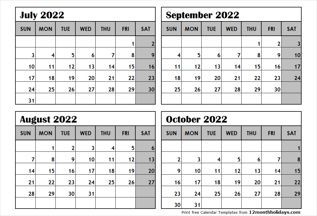 4 Month Calendar July to October 2022