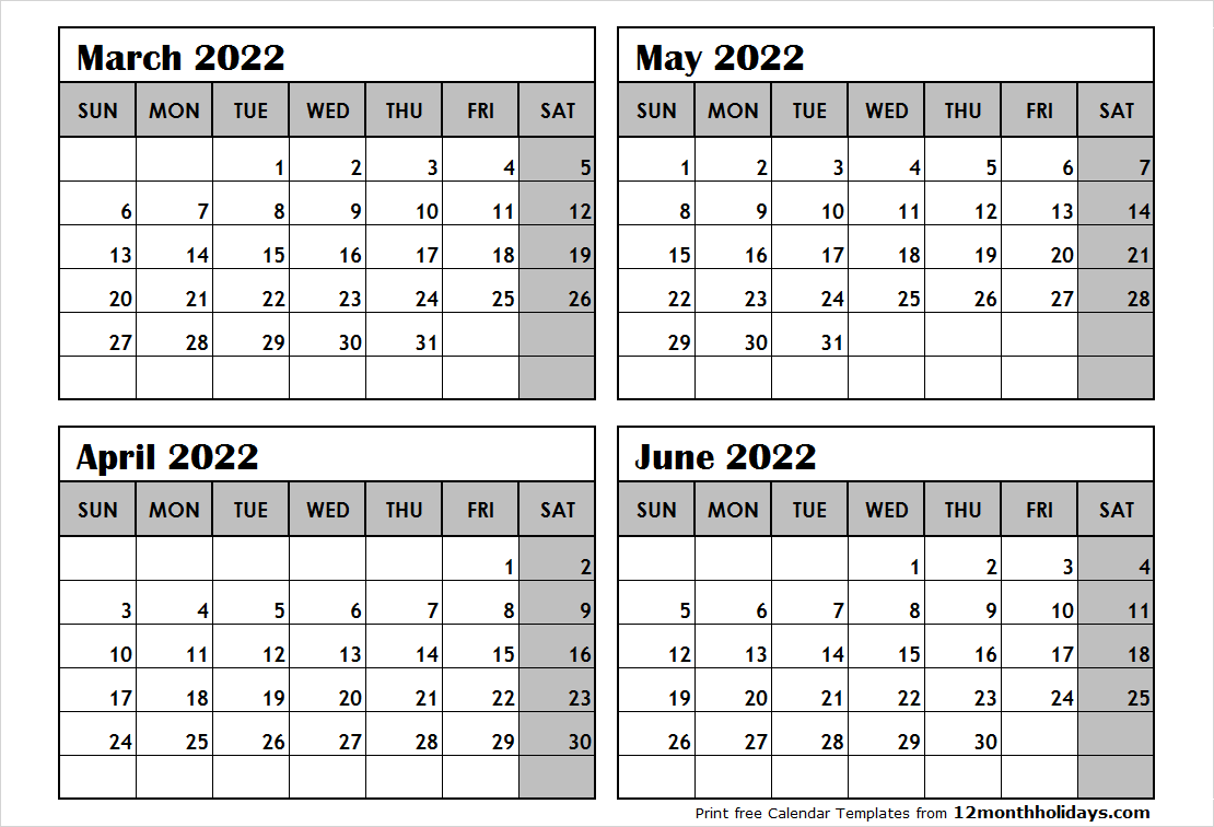 4 Month Calendar March to June 2022