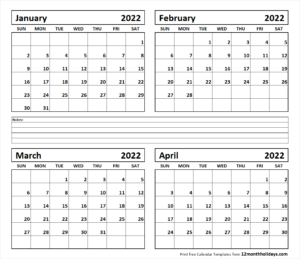 January February March 2022 Calendar.4 Month January February March April 2022 Calendar 12 Month Holidays Calendar Template