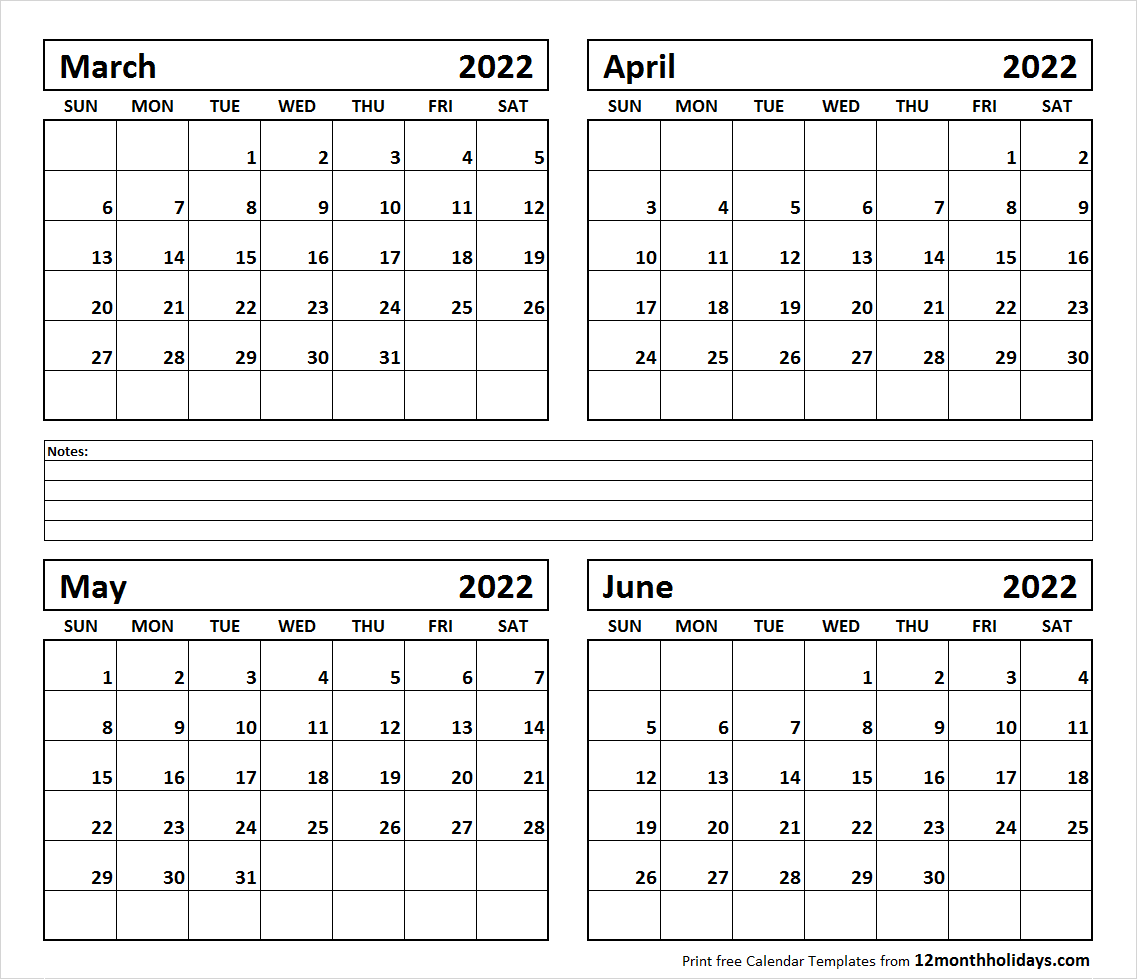 April And May Calendar 2022.Four Month Calendar Archives Page 17 Of 25 12 Month Holidays Calendar Template