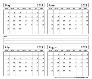 Calendar 2022 June July August.4 Month May June July August 2022 Calendar 12 Month Holidays Calendar Template