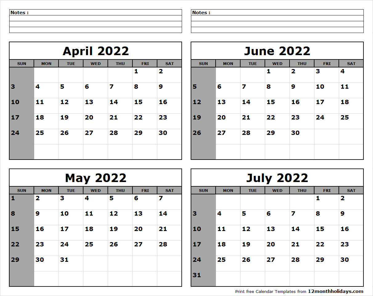 April May June July 2022 Calendar to Print