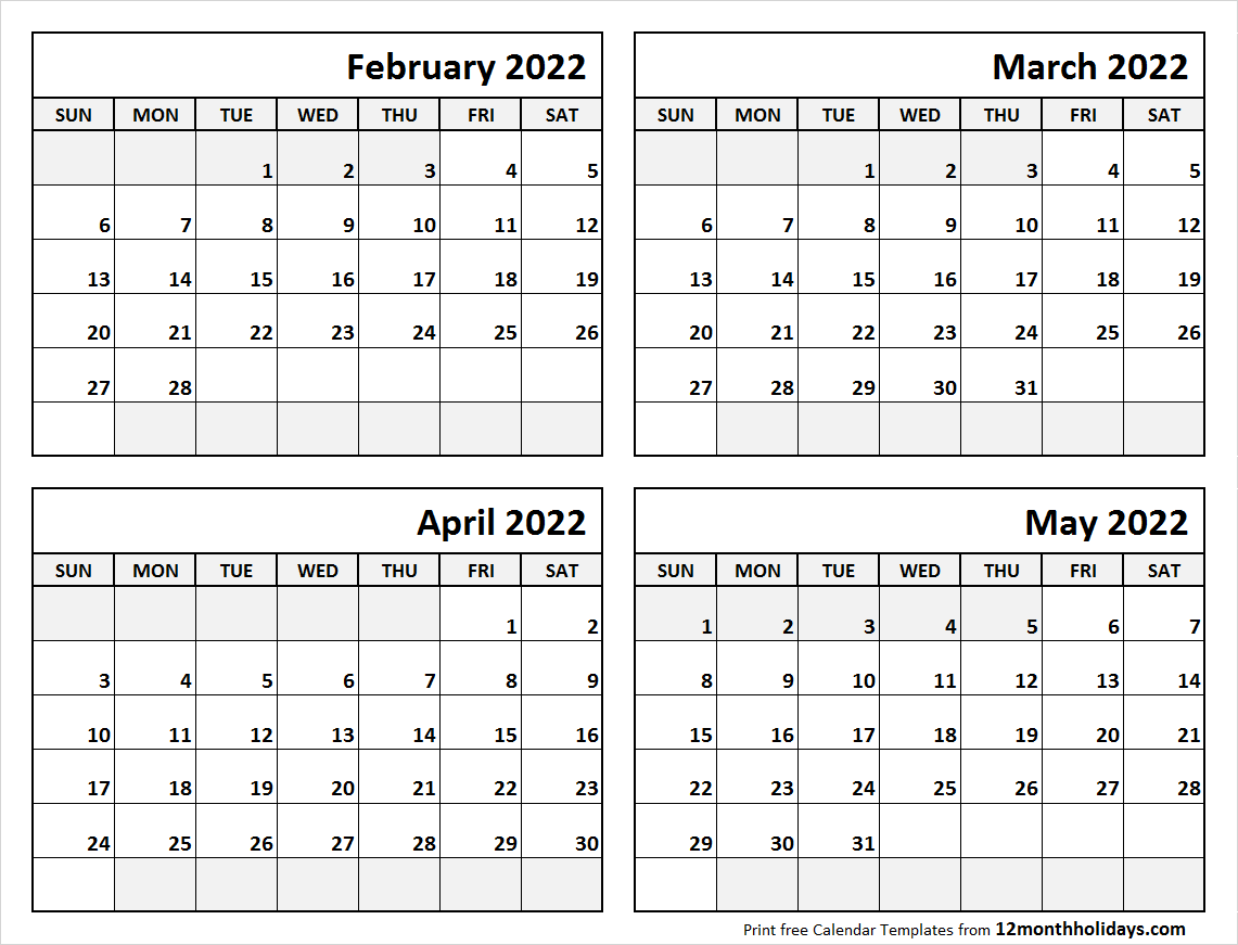 Blank February to May Calendar 2022 Template