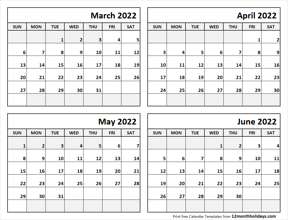 Blank March to June Calendar 2022 Template