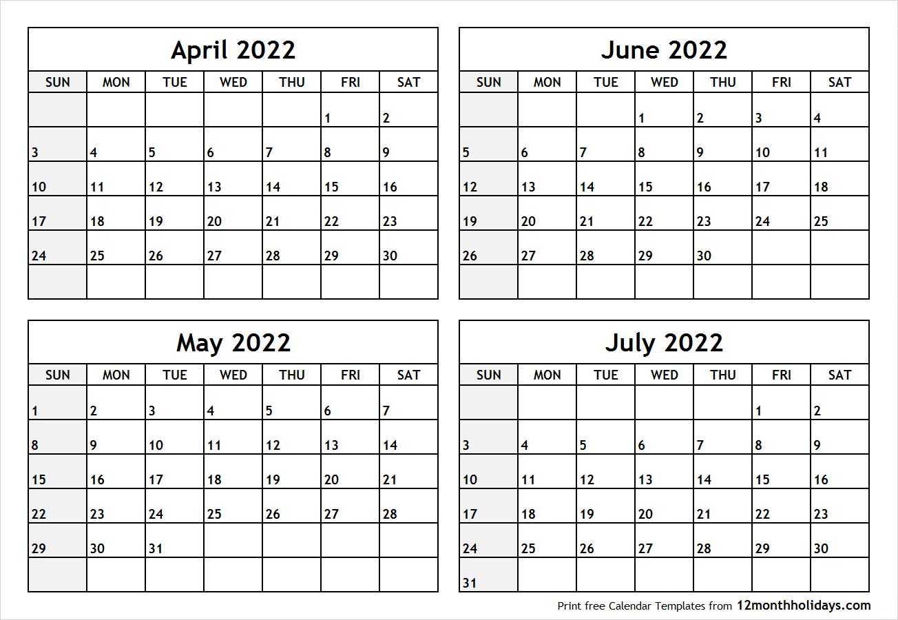 Calendar April to July 2022 Printable