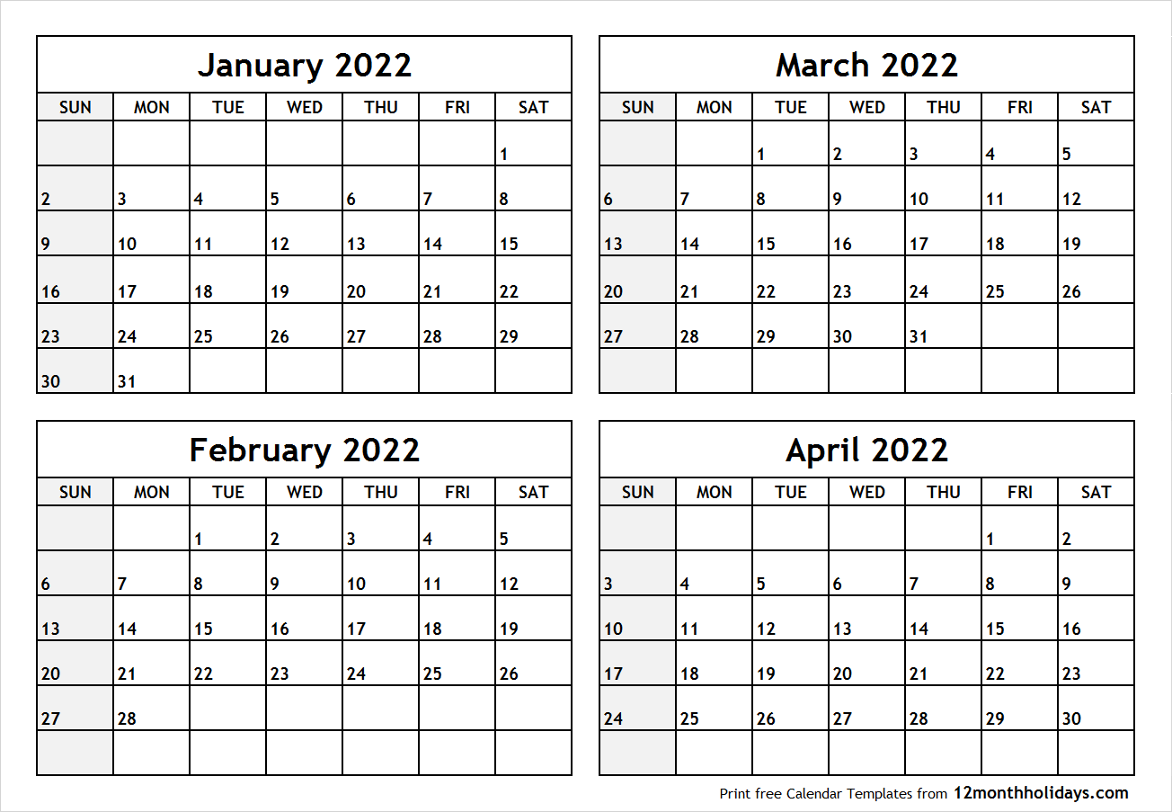 Calendar January to April 2022 Printable