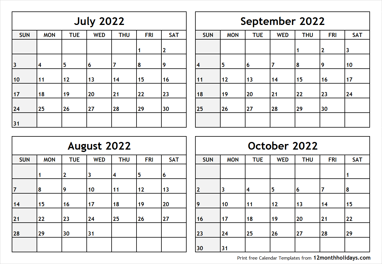 Calendar July to October 2022 Printable