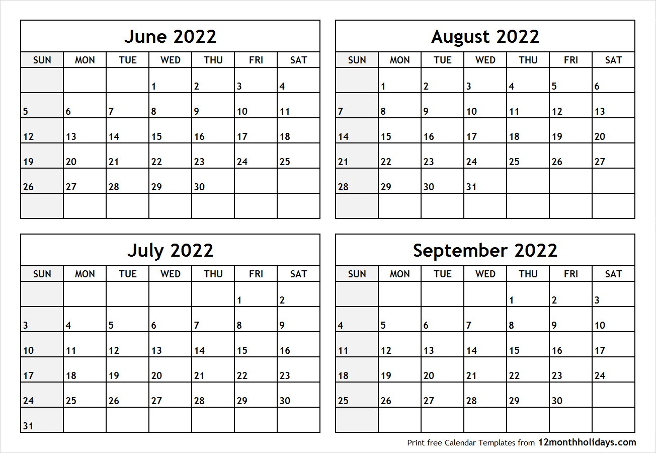 Calendar June to September 2022 Printable
