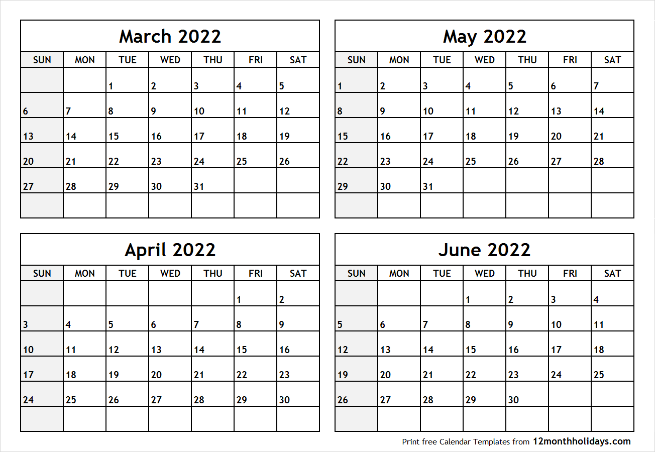 March April May 2022 Calendar.Printable Blank Four Month March April May June 2022 Calendar Template