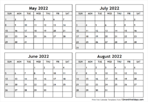May June July August 2022 Calendar.Calendar May To August 2022 Printable 12 Month Holidays Calendar Template