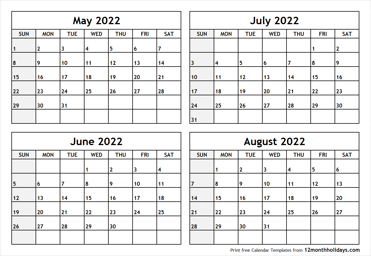 Calendar May to August 2022 Printable