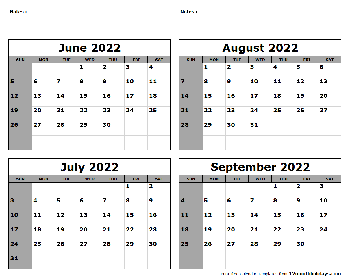 June July August September 2022 Calendar to Print