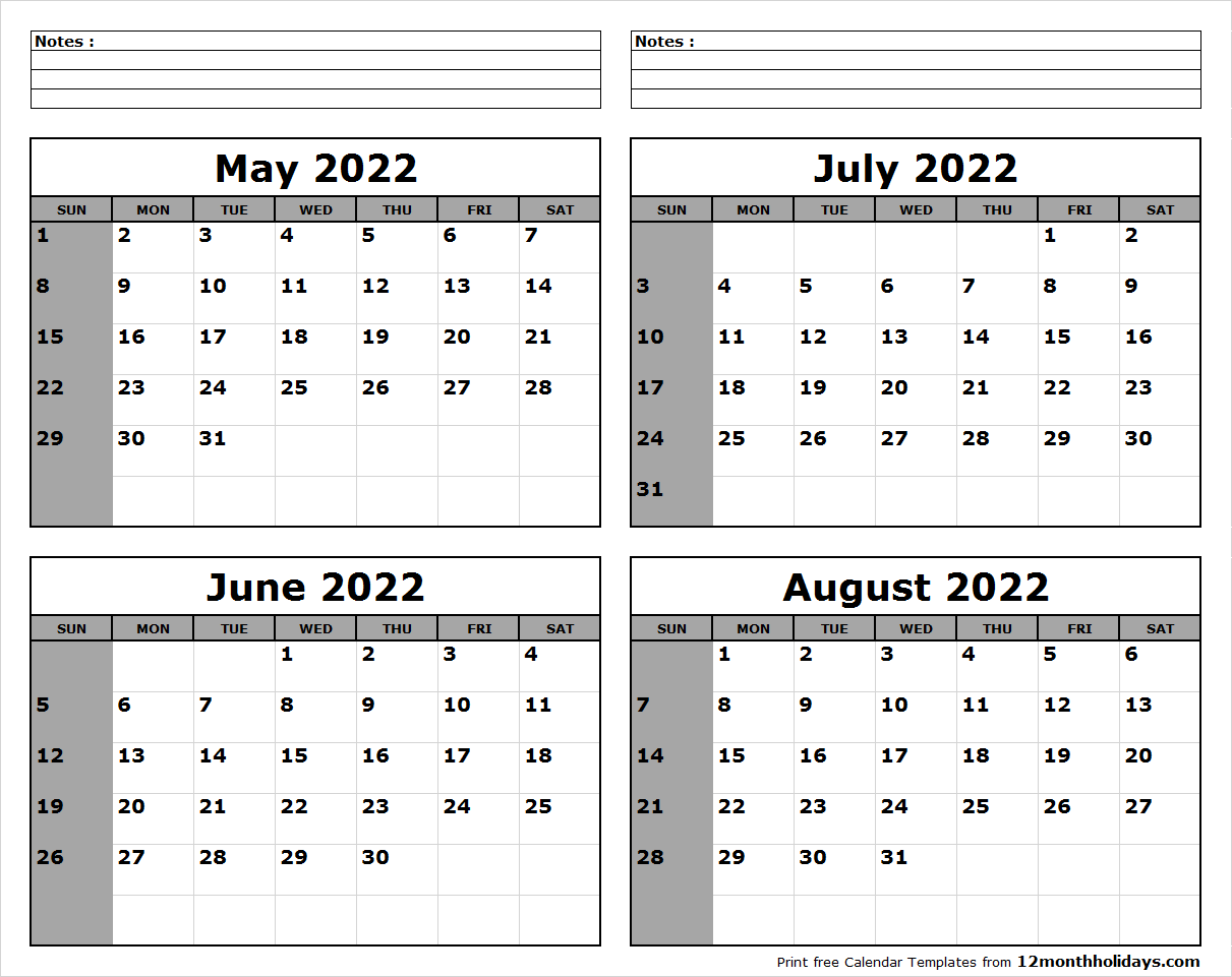 May June July August 2022 Calendar to Print