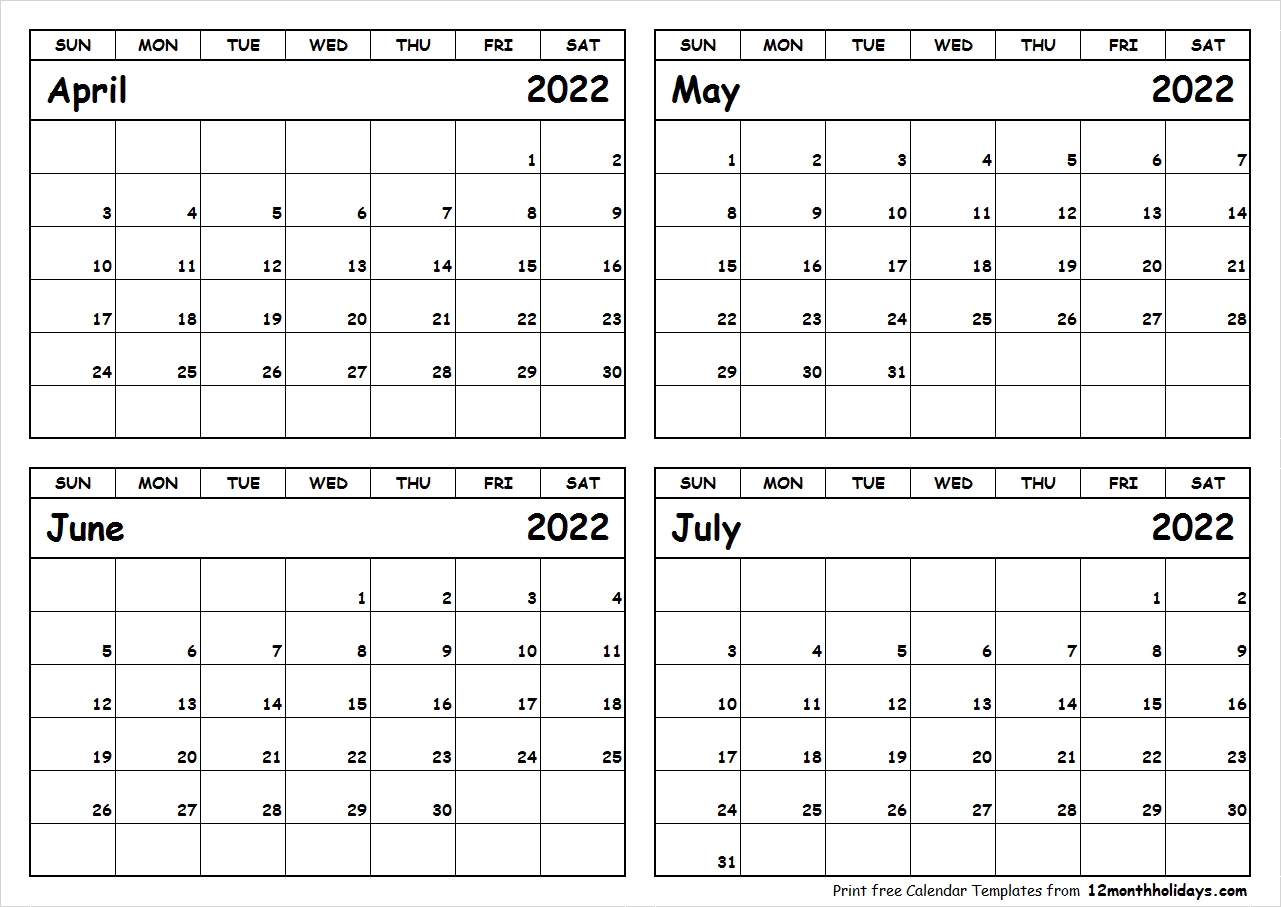 Printable April to July 2022 Calendar