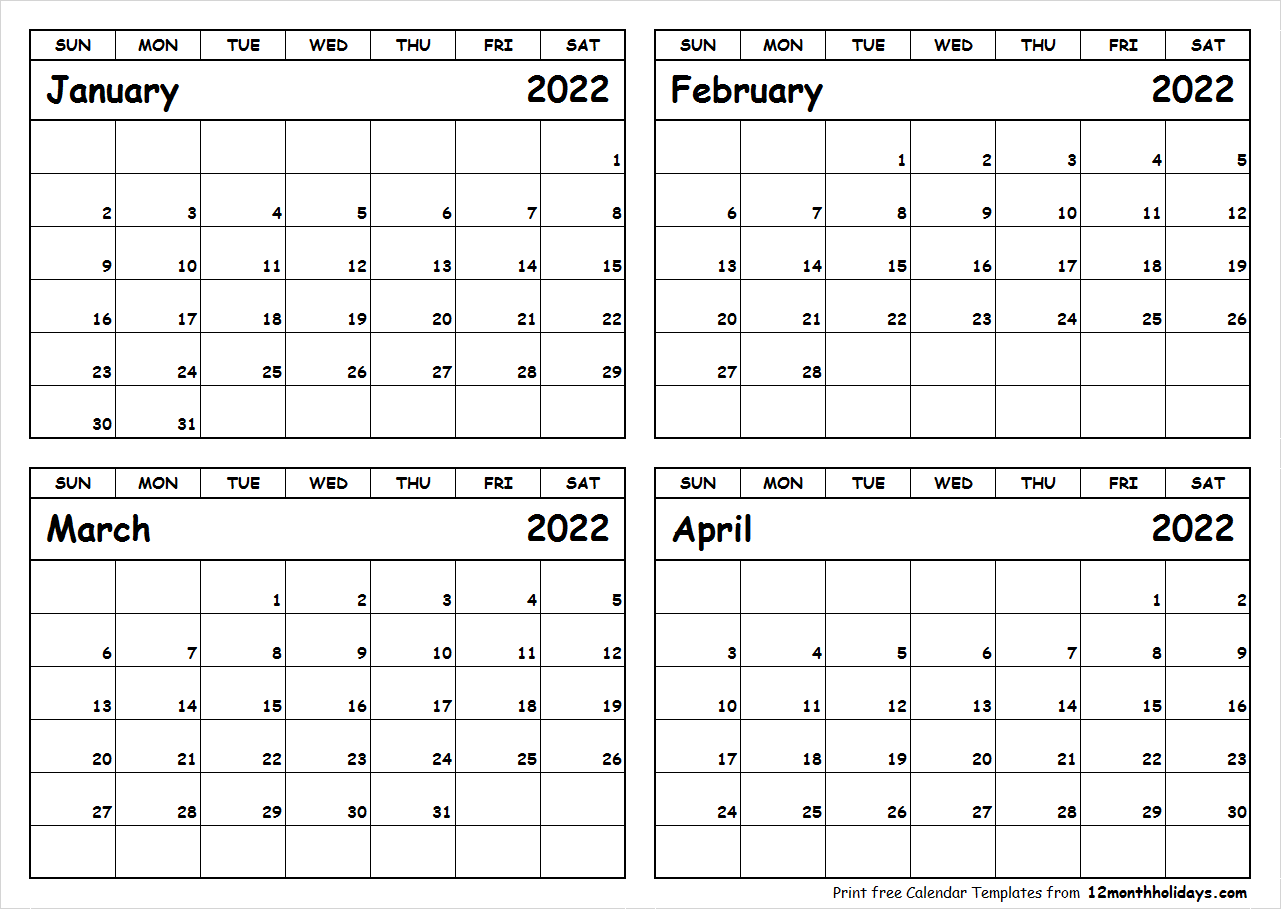 Printable January to April 2022 Calendar